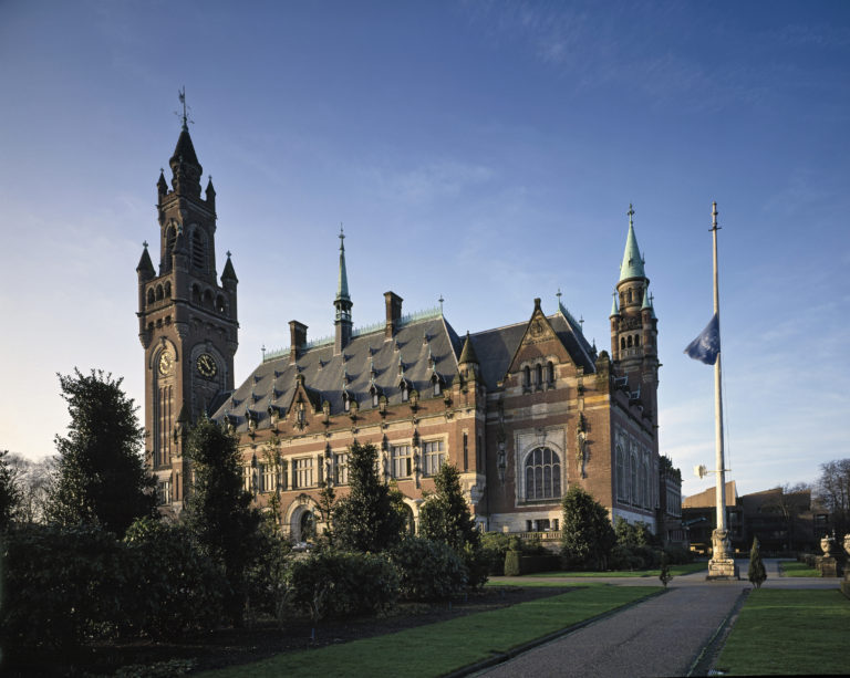 The Peace Palace, seat of the International Court of Justice. The Court is the principal body of the United Nations. 1993.