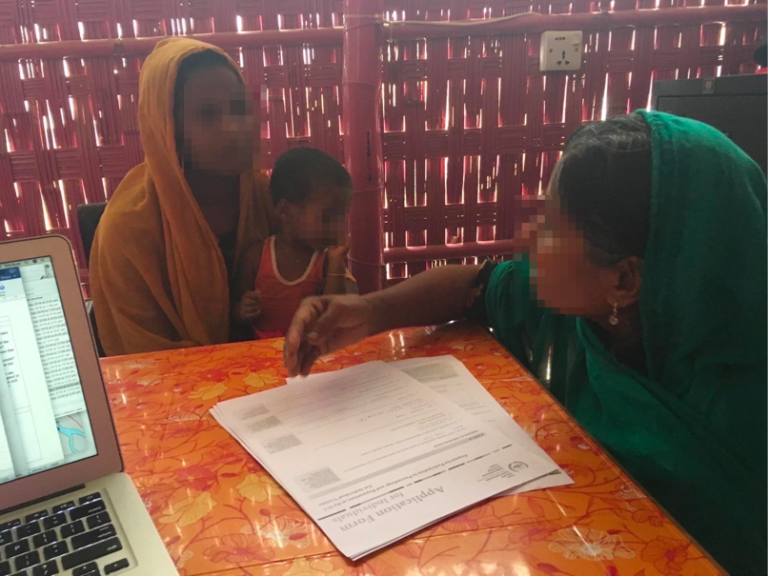 LAW gathers victim applications from Shanti Mohila (faces obscured for security reasons)